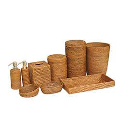 rattan bathroom set